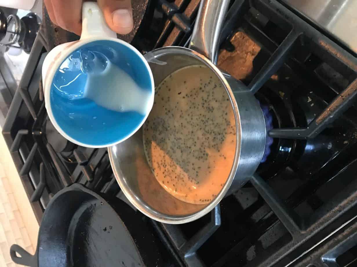 adding milk